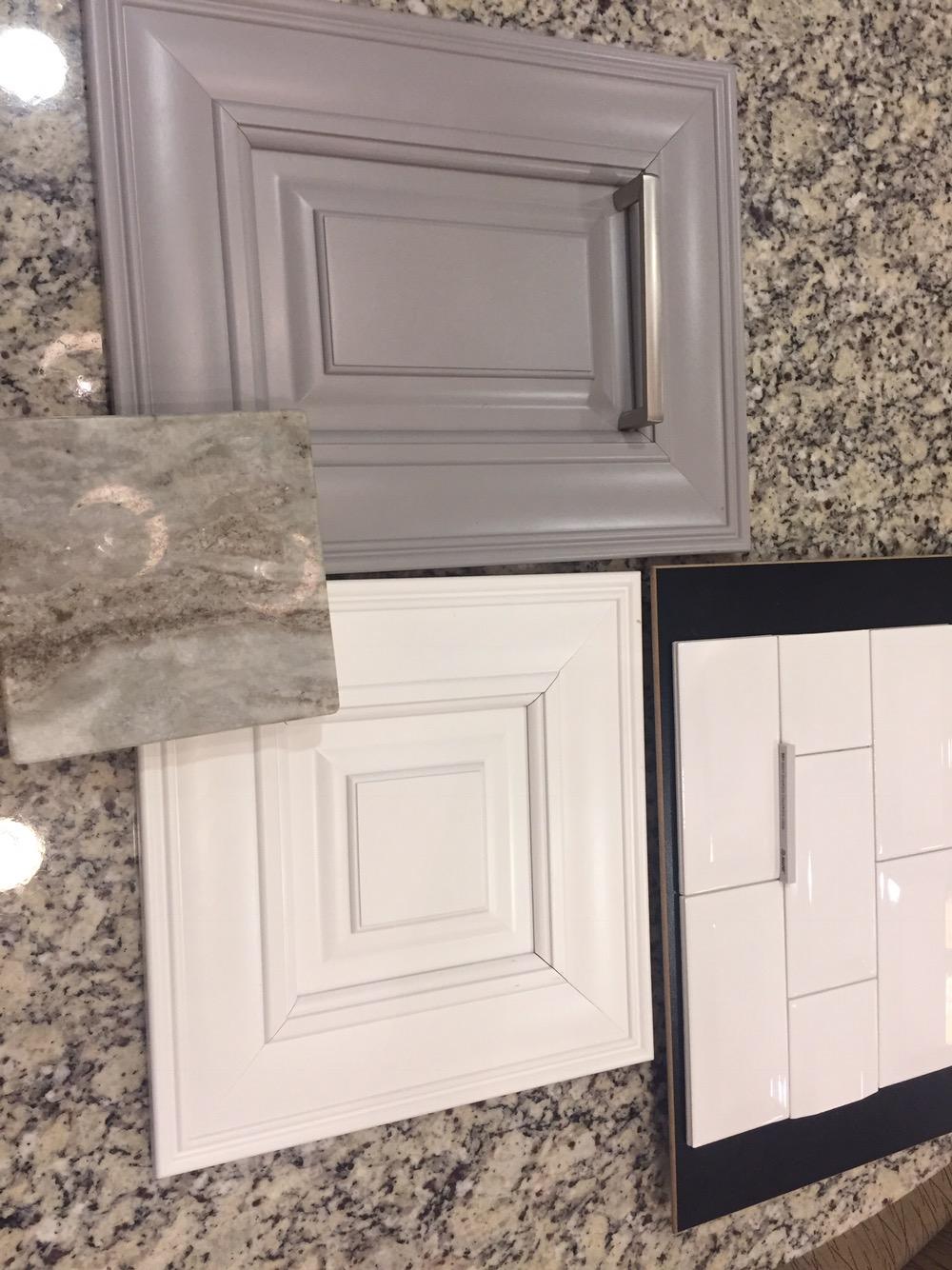 Sierra Vista Cabinets In Painted Stone U0026 White; Brown Fantasy Granite ...